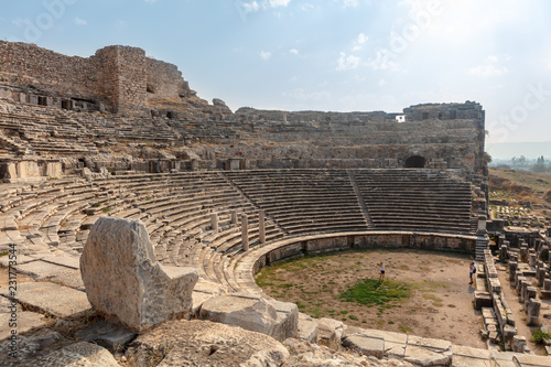 Spoed Foto op Canvas Oude gebouw Ruins of the ancient Theatre at Miletus in the Aydin Province of Turkey.