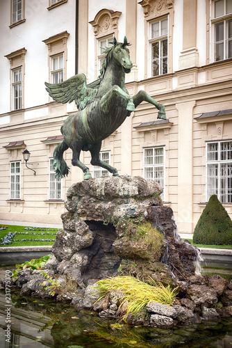 Foto  Fountain with bronze sculpture of horse