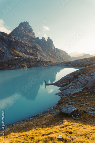 Poster Scandinavie Beautiful sunset at Schottensee Lake, on and the five-lake tour route on Mt Pizol, Bad Ragaz, Heidi-Country, Swiss Alps, Switzerland, Europe,