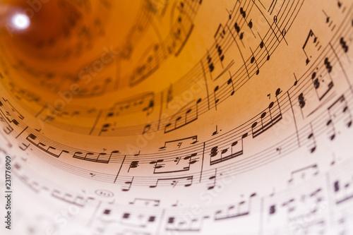 Valokuvatapetti Curled Sheet Music
