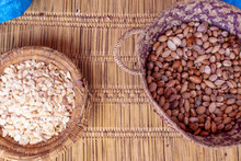 Two Baskets With Seeds And Nuts