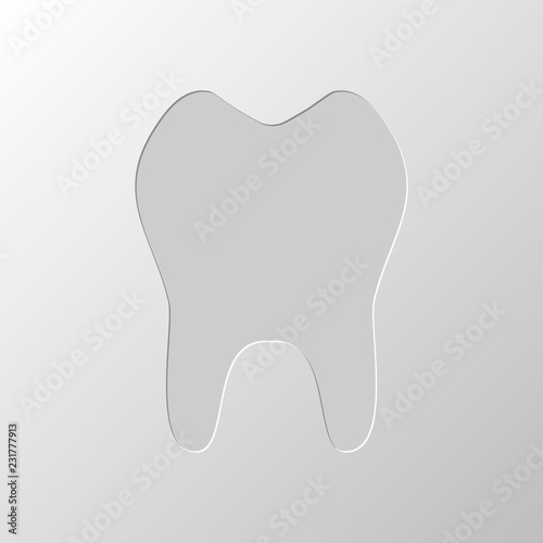 Fotografering  tooth. simple icon. Paper design. Cutted symbol. Pitted style