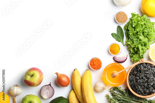 Natural products as home remedies for asthma on white background, top view