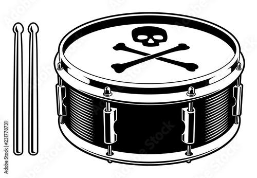Black and white illustration of drum Tableau sur Toile