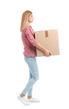 Full Length Portrait Of Woman Carrying Carton Box On White Background. Posture Concept