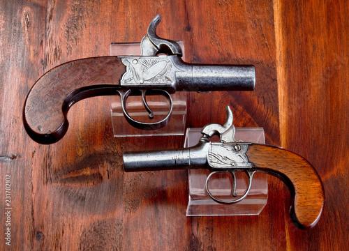 Fotografia, Obraz  Antique English Percision Muff Pistols.