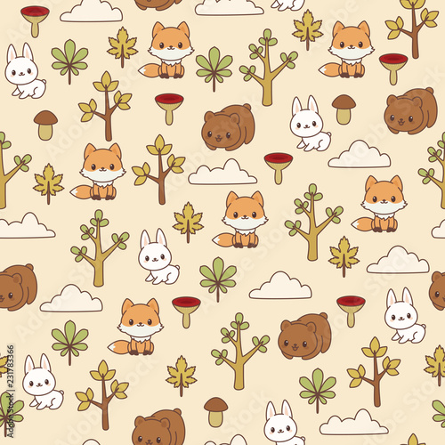 Woodland/forest animals seamless pattern. Brown bear, fox and bunny in the forest. Children's wallpaper