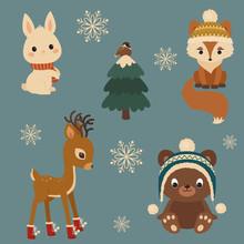 Woodland Animals Winter Time. ...