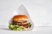 Tasty Burger On Isolated Background.