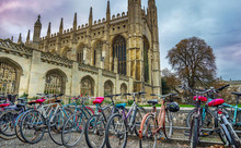 Cambridge, UK; October 2018; Bicycles On The Foreground And Kings Collage, Cambridge, UK On The Background At Sunset.