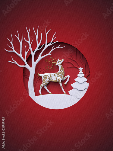 Photo  3d render, digital illustration, flat paper craft winter landscape, reindeer, fi