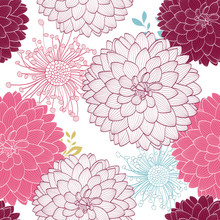 Seamless Abstract Pattern With Dahlia Flowers.