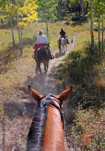 Trail ride at  a Colorado guest ranch Canvas Print