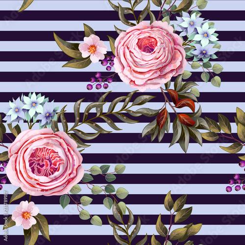 Tapety SHABBY-CHIC  rozowe-roze-angielskie-wzor-na-tle-paski-wektor