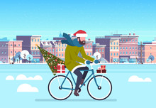 Man Riding Bike With Fir Tree Gift Box Over City Street Buildings Cityscape Background Merry Christmas New Year Concept Flat Horizontal Vector Illustration