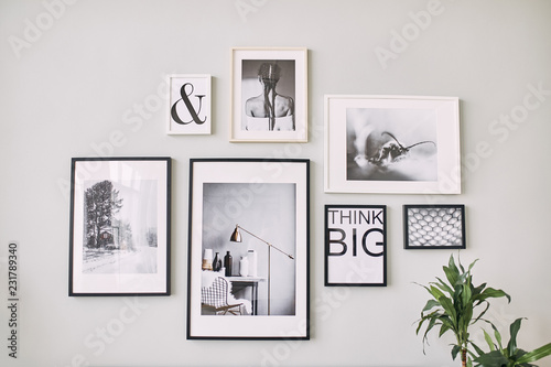 Obraz different size framed photos hanging on the gray wall. - fototapety do salonu