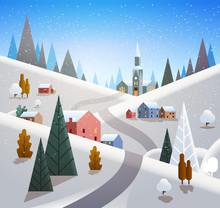 Winter Village Houses Mountains Hills Landscape Snowfall Background Flat Vector Illustration