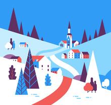 Winter Village Houses Mountains Hills Landscape Background Flat Vector Illustration