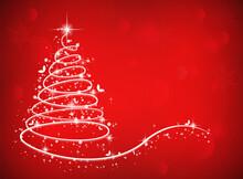 Beautiful Christmas Tree With Snowflakes In The Christmas Season.