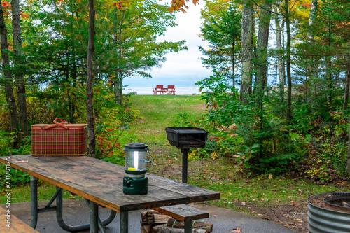 Aluminium Prints Autumn Scenic lakeside campsite overlooking Lake Superior - camping in fall