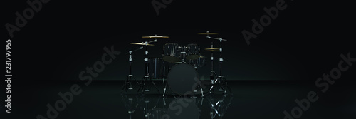 Papel de parede Drum kit in dark background. 3d rendering