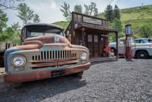 Old Car In Vintage Gas Station