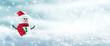 Leinwanddruck Bild - Snowman In Snowy Winter Wonderland