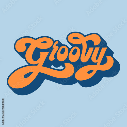 Groovy word typography style illustration Tablou Canvas