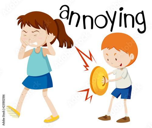 Photo Young boy annoying girl