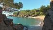 Costa Brava beach, aerial drone, paradise, turquoise green - Lloret de Mar Mediterranean - Spain