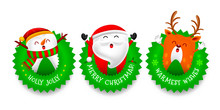 Christmas Tooth Characters Design With Christmas Round, Santa Claus, Snowman And Reindeer. Merry Christmas And Happy New Year Concept. Illustration.