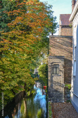 Scenery with water canal in Bruges, Belgium