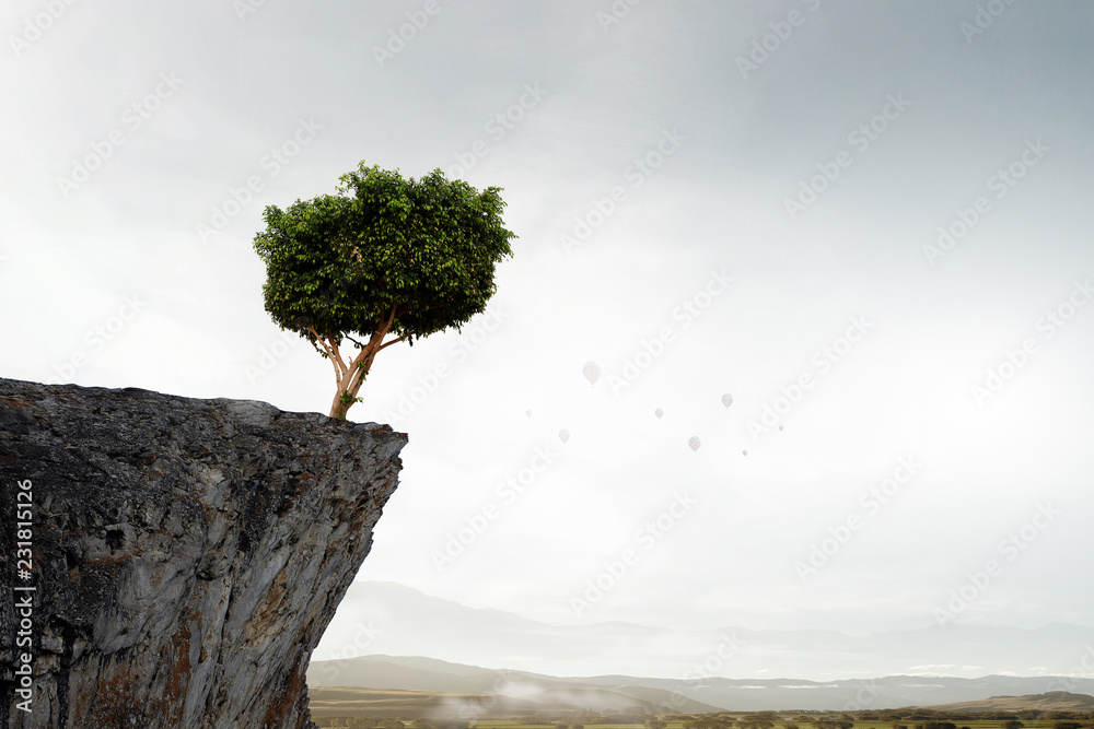 Fototapety, obrazy: Lonely tree on rock top. Mixed media