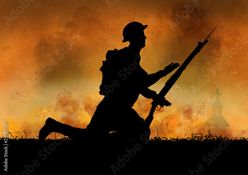 Canvas Prints Military World War British soldiers silhouette on a battlefield.