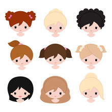 Happy Baby Girls Faces. Cartoon Vector Illustration.