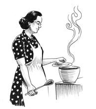 Housewife Preparing Meal. Ink ...