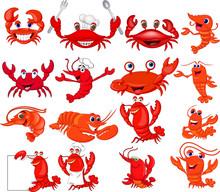 Cartoon Shrimp And Crab Collec...