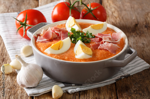 Porra antequerana is a part of the gazpacho family of soups originating in Andalusia, in southern Spain close-up. horizontal