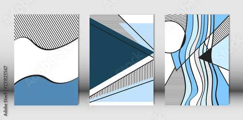 Photo  Templates Set with Bauhaus and Geometric Elements in Blue, White and Black Colors