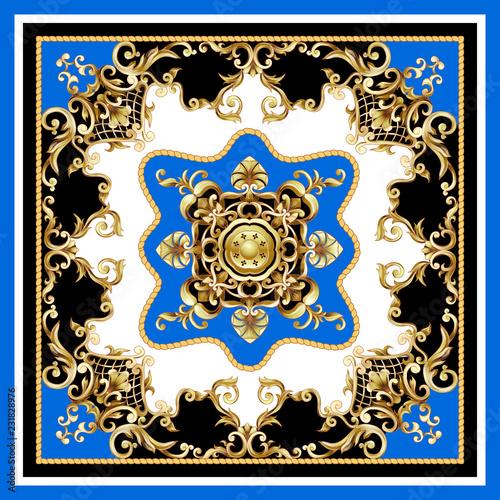 Fotografie, Obraz  Design scarf with golden baroque elements. Vector illustration.