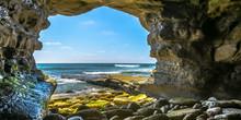 Sea Cave In La Jolla Overlooking Pacific Ocean