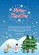 Christmas poster template vector illustration with childish drawing cartoon of snowman colorful trendy