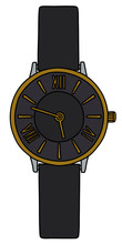The Vectorized Hand Drawing Of A Black Wonans Wrist Watches