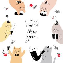 Cartoon Cute Cat Happy New Yea...