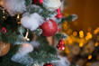 Christmas tree in interior. Christmas background. closeup shot. blurred background