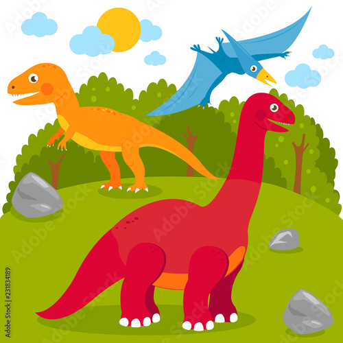 Photo  Prehistoric landscape with dinosaurs: pterodactyl, Brontosaurus, apatosaurus, tyrannosaurus