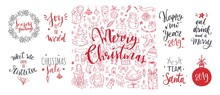 Merry Christmas And New Year Words On Christmas Tree Decoration. Vector Hand Drawn Lettering