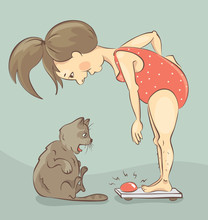 Girl On The Scales / Funny Vector  Illustration, Fat Cat Very Surprised Weight Hostess