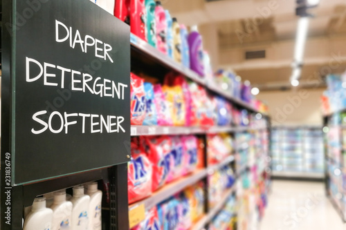 Photo Diaper, Detergent, Softener household grocery categoy aisle at supermarket