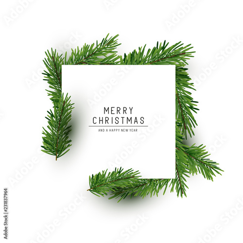 Fotografia  A christmas square shaped layout background with fir branches
